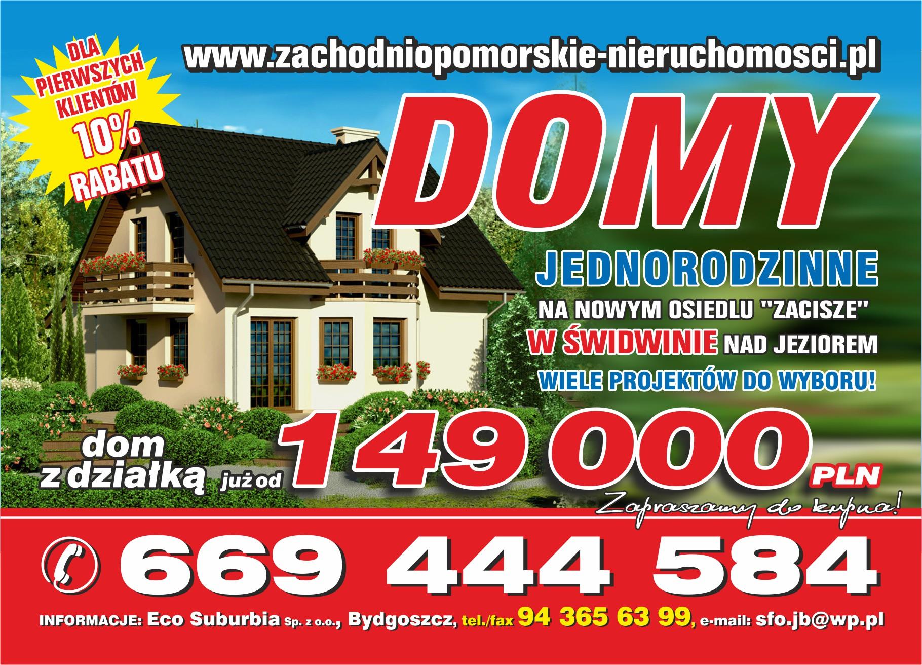 sprzedaż | NOWE domy jednorodzinne nad jeziorem | Świdwin